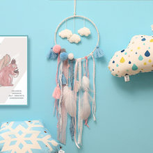 Fresh Cloud Dreamcatcher Pendant Feather With Light Creative Decorative Crafts Wall Hangings Girl Gifts Home Living Room Hanging(China)