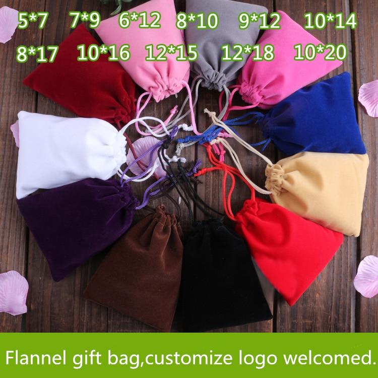 12x15cm Flocking Gift Bags 5pcs Drawstring Jewelry Velutum Customized Printing Logo Xmas Party Wedding Gift Pounch