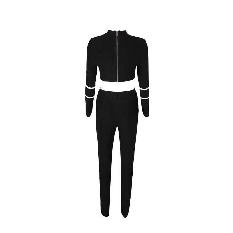 Gros Tenue h2831 Pièces Cocktail 2019 En Ensemble Noir Nouveau Bandage À De Manches amp; Longues Top Maille Deux Perspective Pantalon Fête Sexy f1xdgq1Hw