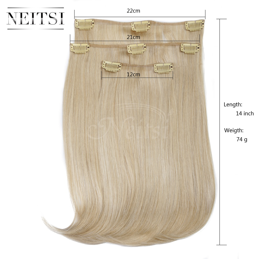 Купить с кэшбэком Neitsi 14'' 3Pcs/Set 75g Clip in on Synthetic Hair Extensions Straight Hairpieces Light Blonde 1000C#