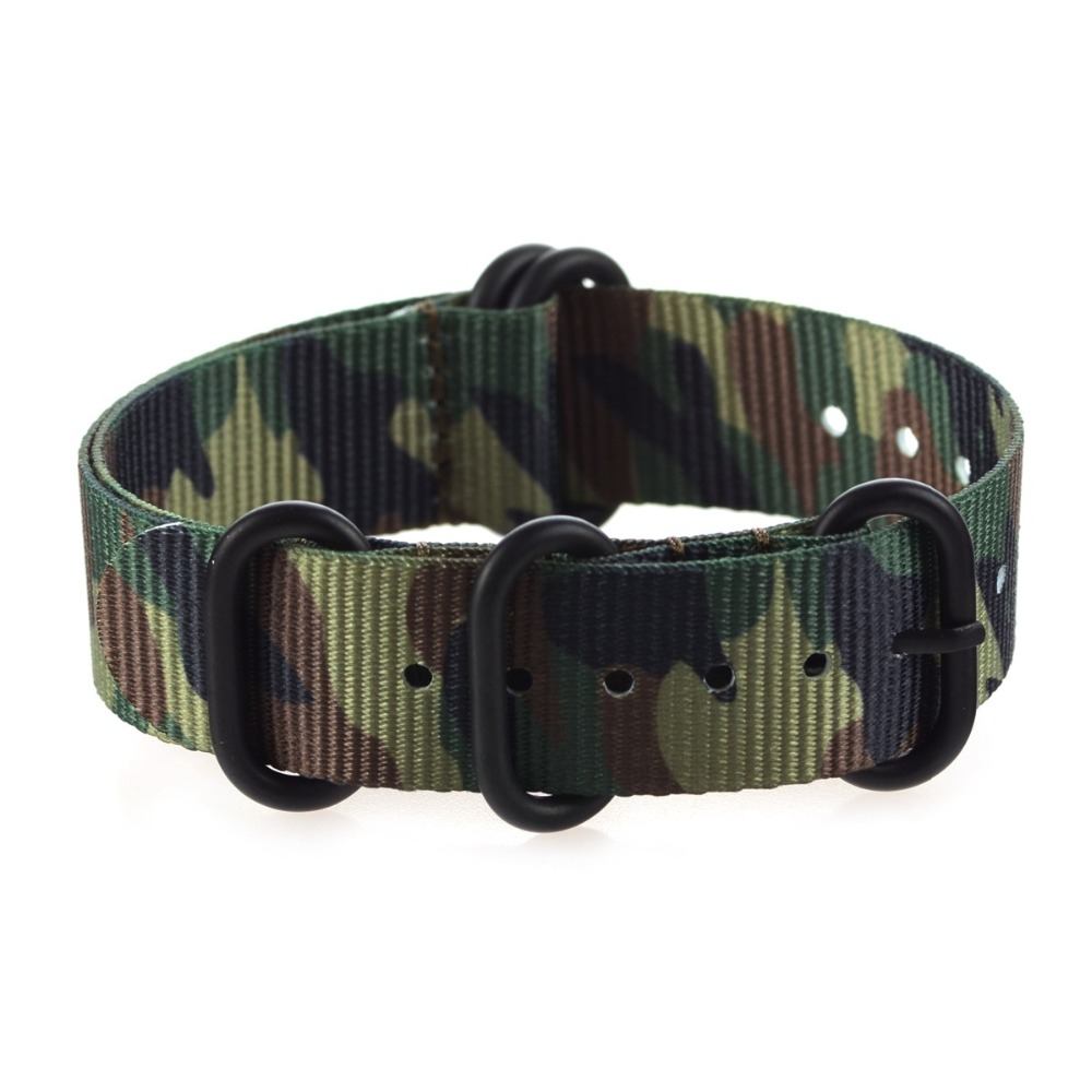 Special Camouflage Nylon ZULU Watch band 18mm 20mm 22mm  Watch Straps with 5 Rings Silver&Black Buckle special offer wholesale 20mm nylon zulu watch band straps black orange black rings