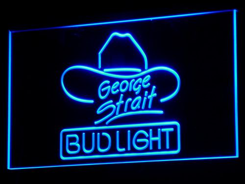 a116 Bud <font><b>Light</b></font> George Strait Bar Pub LED Neon Sign with On/Off Switch 20+ Colors 5 Sizes to choose