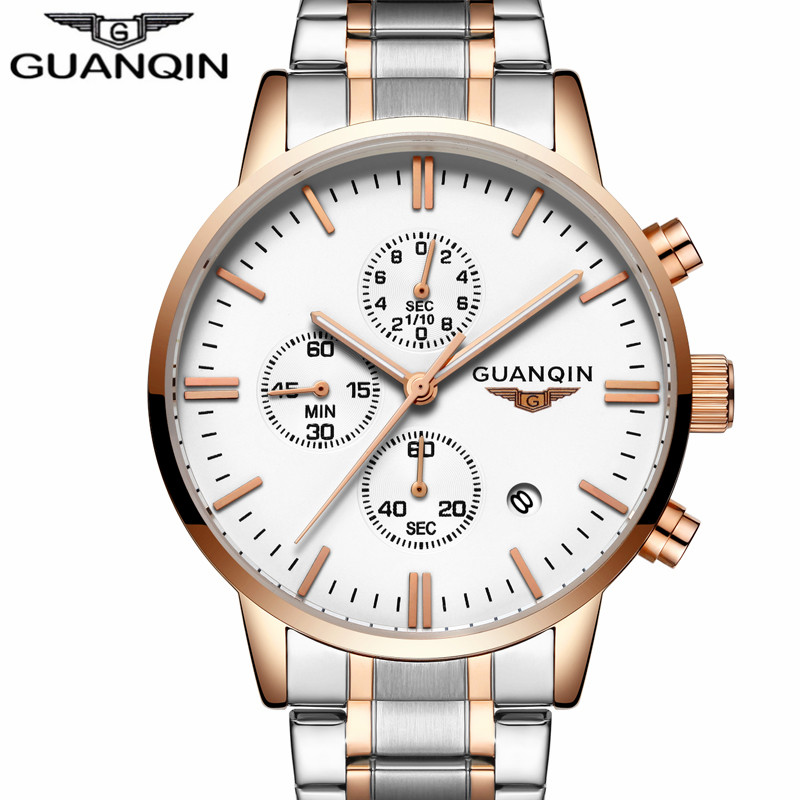 GUANQIN 2018 New Fashion Mens Watches Top Brand Luxury Quartz Wrist Watch Men Sport Stainless Steel Clock relogio masculino guanqin design leather band watches men top brand relogio masculino new men sports clock analog waterproof quartz wrist watches