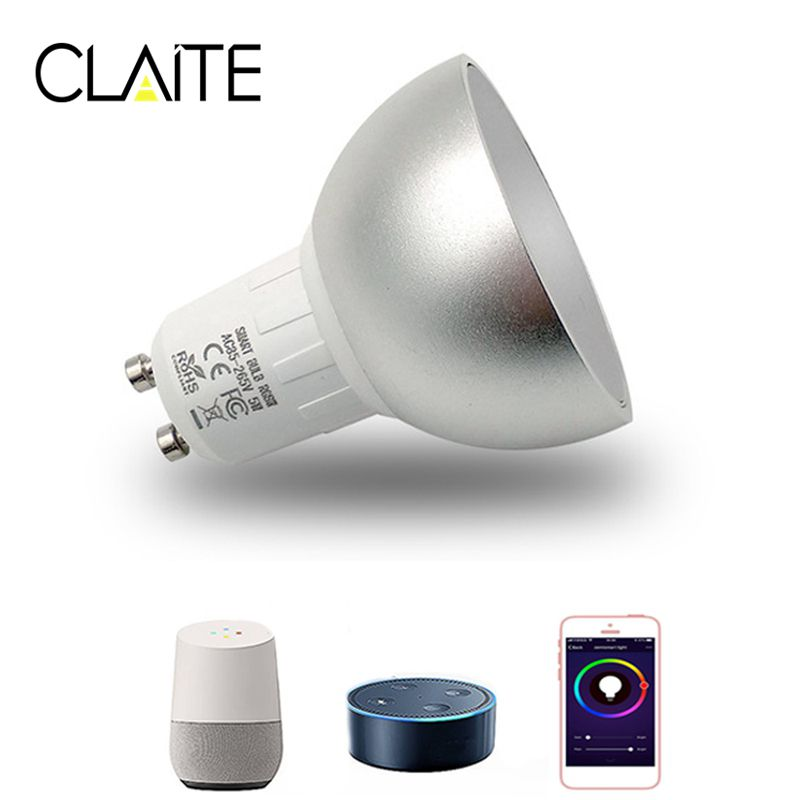 CLAITE GU10 5W WiFi Smart APP RGBW LED Downlight Bulb Remote Control Work with AlexE ech0 Google Home Assistance AC85-265V 5w 10w rgb rgbw led ceiling panel light ac85 265v embedded recessed downlight bulb changable with 24 key remote control