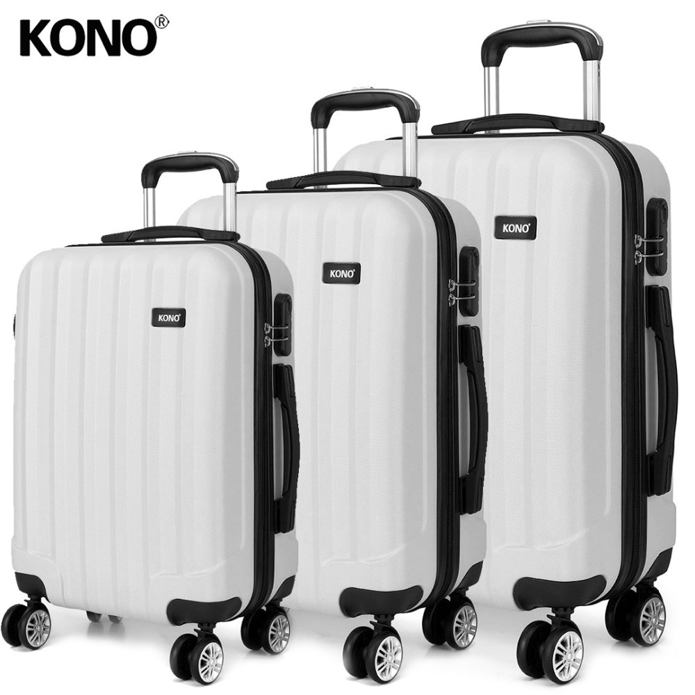 KONO Suitcase Rolling Luggage Carry ons Hand Trolley Case Travel Bags 4 Wheels Spinner Hardside ABS 20 24 28 Inch Set YD1773L