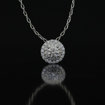 18k Gold Chains | LASAMERO Halo 0.327CT 18k Gold Round Cut Square Center Pave Set Natural Diamond Pendant Necklace Chain Women Fine Jewelry