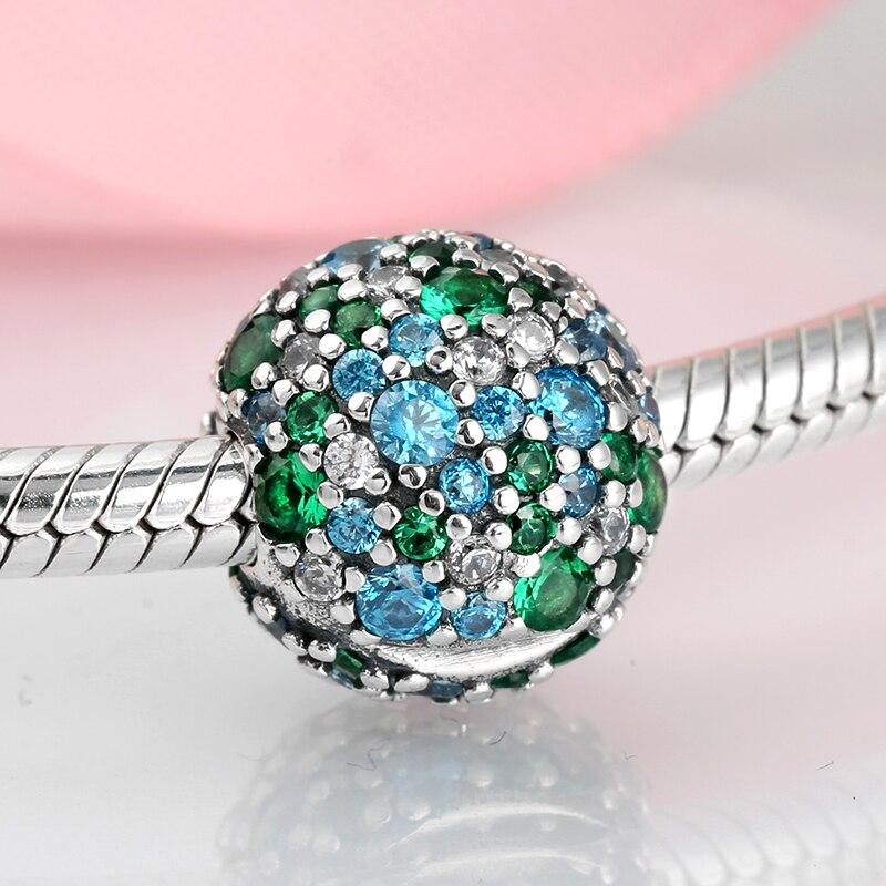 Real 925 prata esterlina charme azul verde zircons forma redonda diy para clipes contas caber pandora original charme pulseira jóias