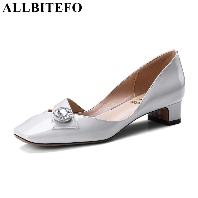 ALLBITEFO large size:33-43 Patent leather square toe thick heel women pumps fashion Rhinestone high heel shoes girls shoes rhinestone square heel mens dress shoes