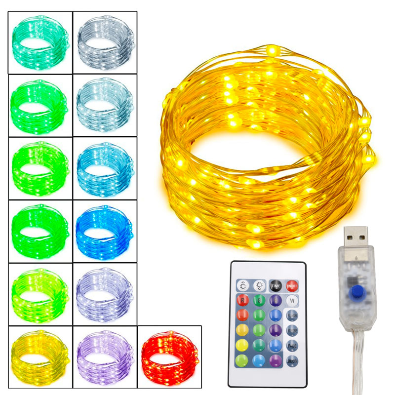 50X Remote Control Fairy Lights 16 Colors Silver Wire Waterproof Home Wedding Party Decorative Lights USB Room Decor Lights