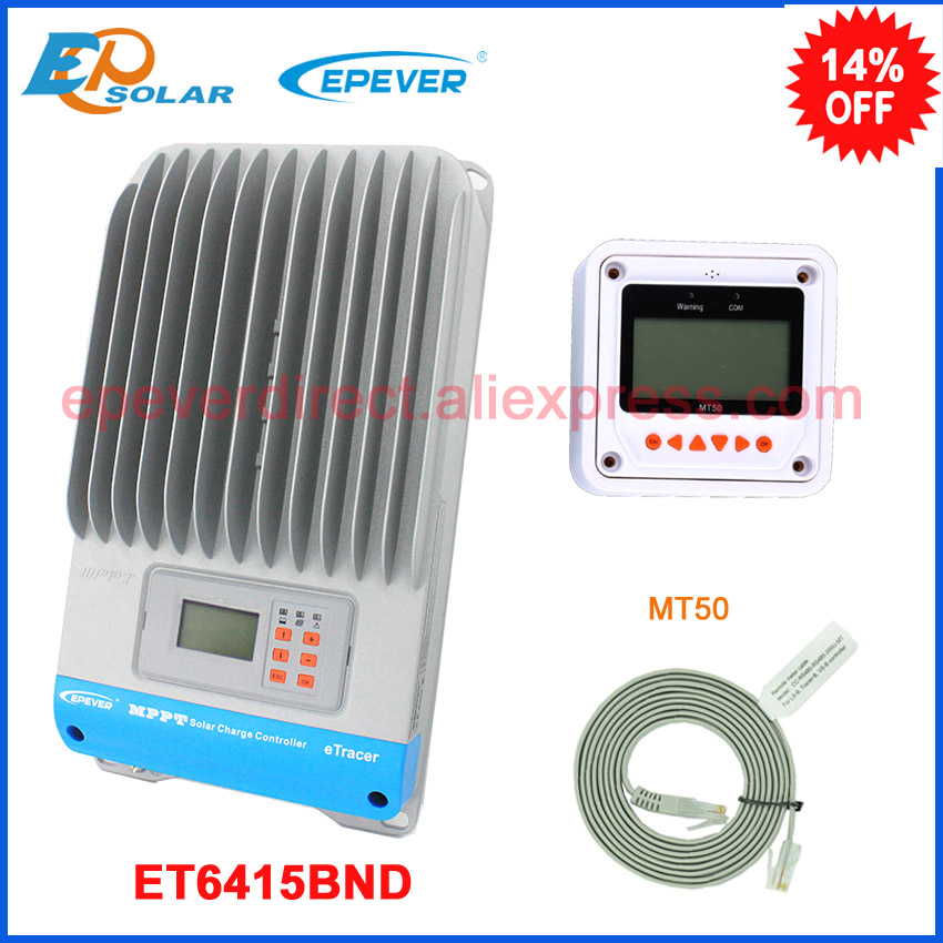 60A 60amp 12v/24v/36v/48v EPEVER ET6415BND mppt tracer solar battery charging controller lcd display MT50 remote meter