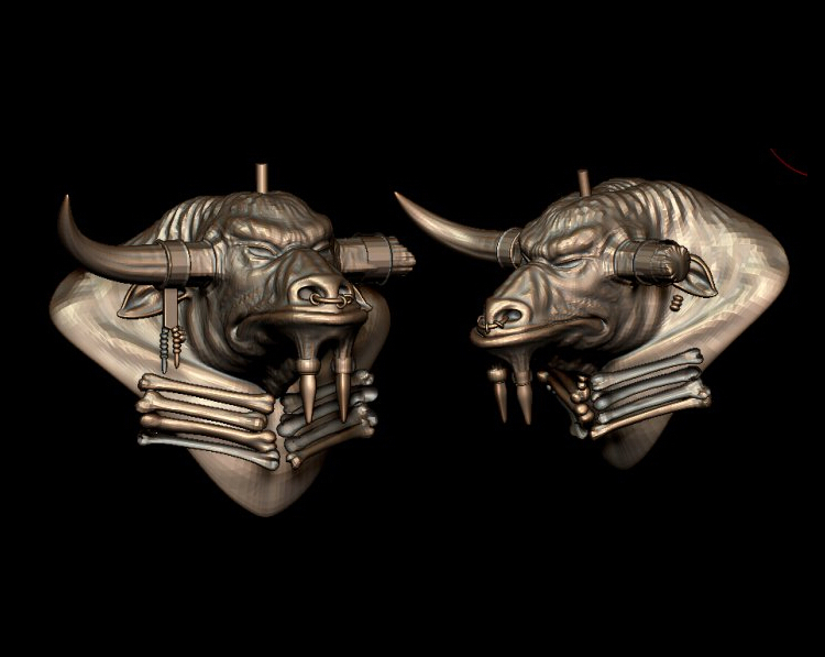 3d Model Relief For Cnc In STL File Format Bull Head