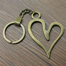 66x46mm Big Hollow Heart Key Ring 2019 New Vintage Metal Chain Party Gift Dropshipping Jewellery