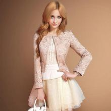 Autumn fashion brand lace stand collar short balzer slim and elegant female beautiful short jacket w1943 free shipping