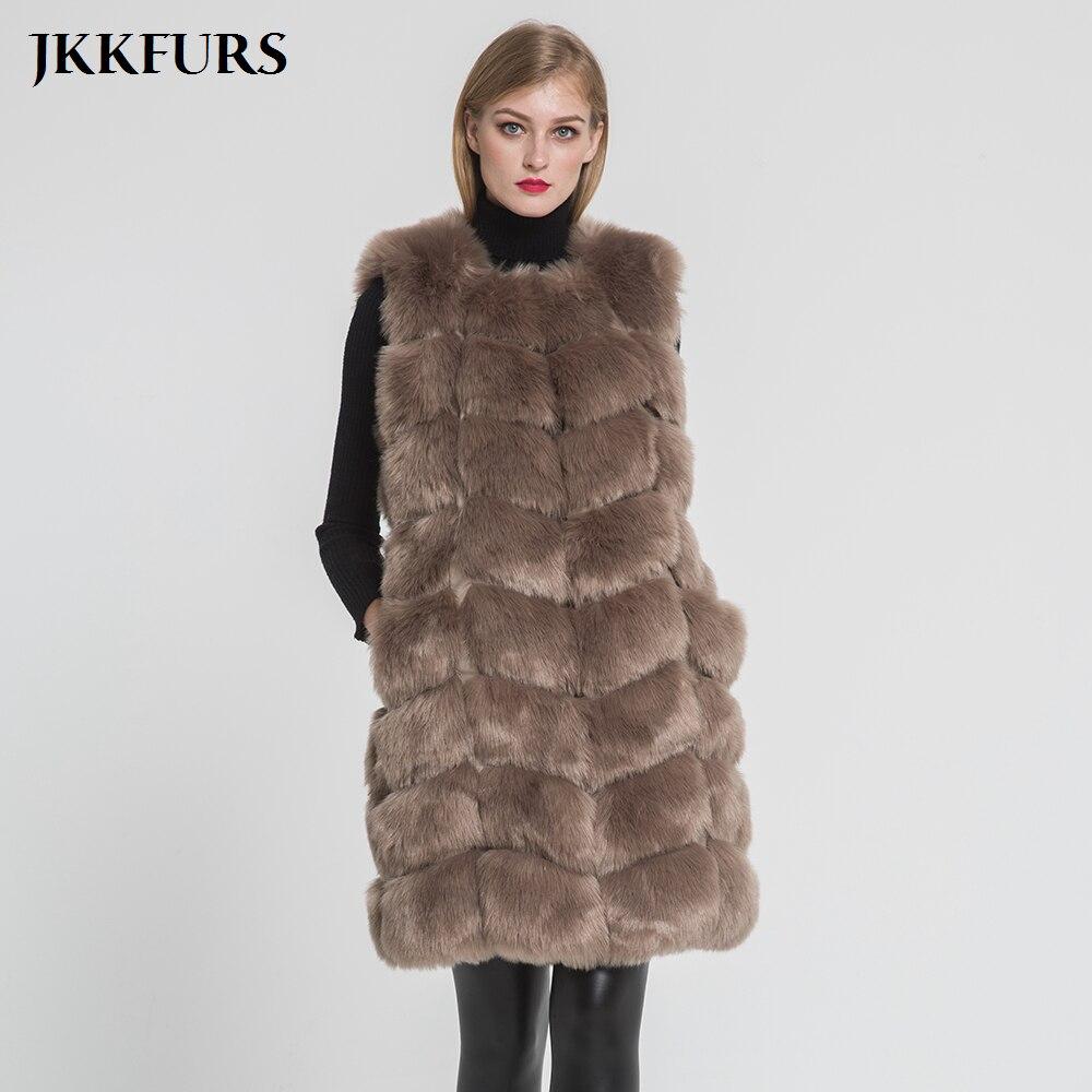 New Black Women Long Vest Shaggy Faux Fur Vests Warm Jacket Tops Thickening Vest