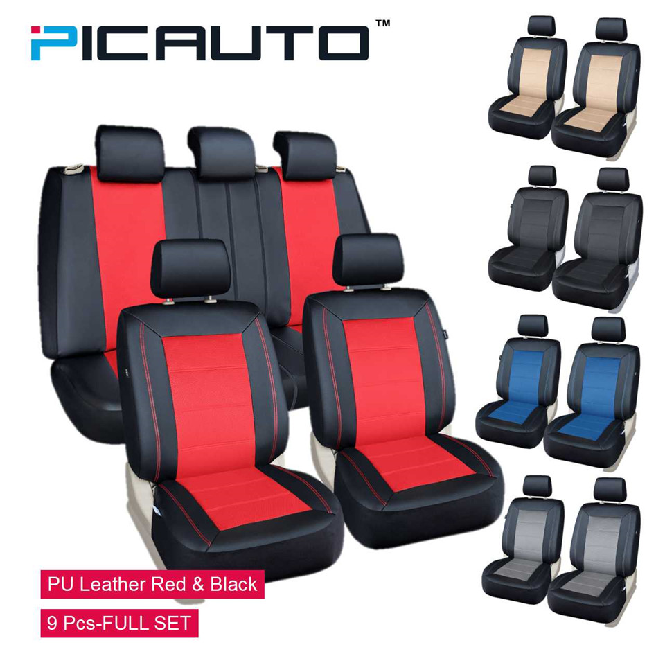 PICAUTO Seat Covers 9 Pcs Full Set Mesh & PU Leather Side airbag Compatible Universal For Automobiles/CARS Five Color for choose