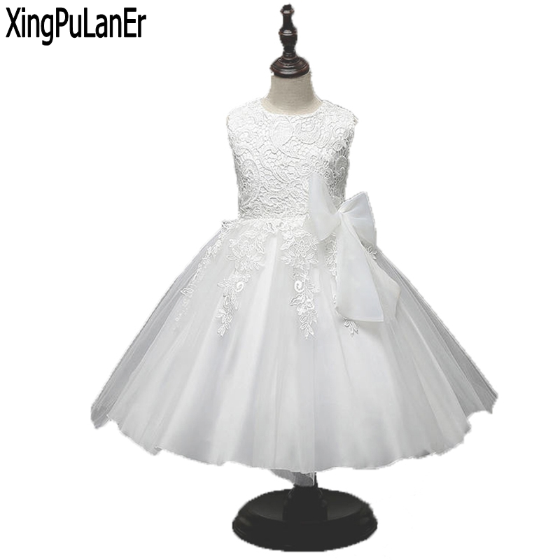 Princess Lace   Flower     Girls     Dress   Sleeveless Ball Gown Tulle 2017 First Communion   Dresses   Kids Pageant   Dress   with Bow