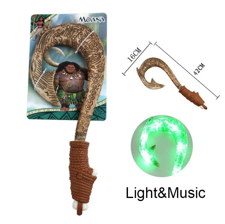 Moana Waialiki Maui Heihei LED armas de sonido de la luz saber gancho de pesca vaiana Moana figura aventura sable de luz de juguete de regalo de 42 cm