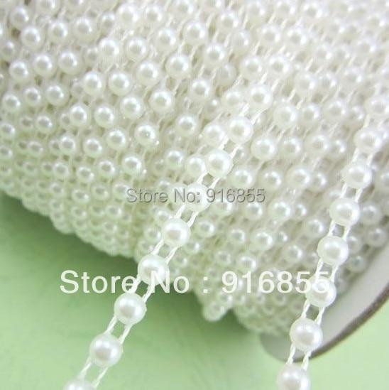 Envío libre 50 m roll 4mm color blanco puro medio ronda perlas de imitación  del flatback ABS cadena para DIY Decoración f6abf119fb95