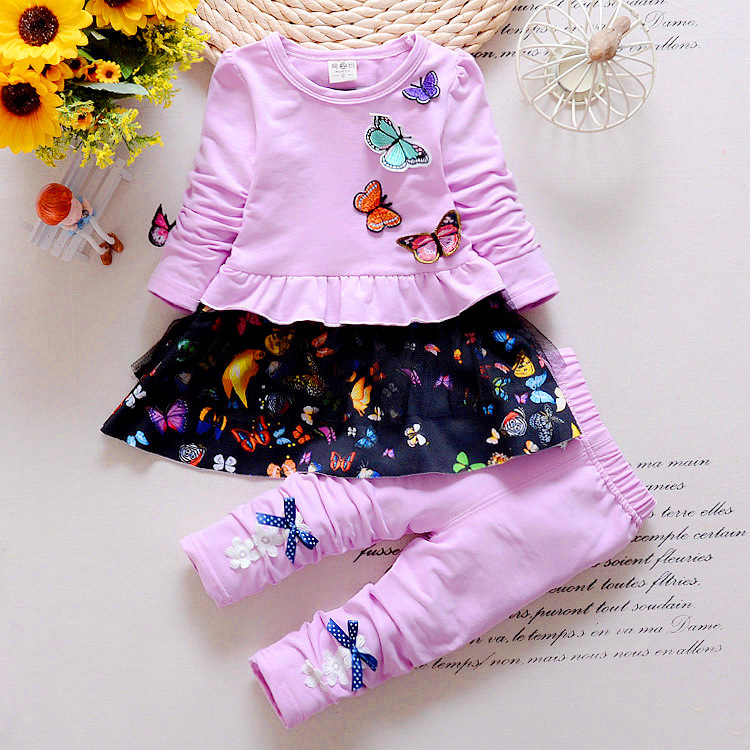 Spring Autumn Children Clothing Set Toddler Girls Cotton Butterfly T-shirt + Pants Suit Set Baby Girls Long-Sleeve Clothing Set carter s 4 piece bunny snug fit cotton pjs cute rabbit print long sleeve girls clothes set toddler girls clothing set 24062023