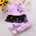Spring Autumn Children Clothing Set Toddler Girls Cotton Butterfly T-shirt + Pants Suit Set Baby Girls Long-Sleeve Clothing Set