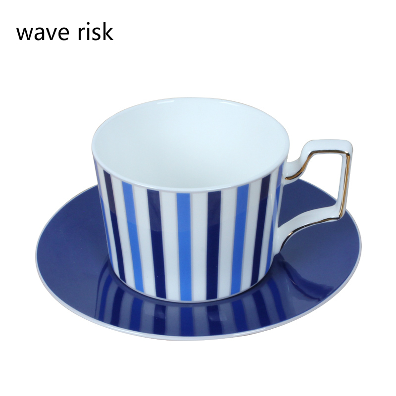 Quality black white blue stripe coffee cup and saucer set elegant England style gole edge hand blue dish cup creative china bone