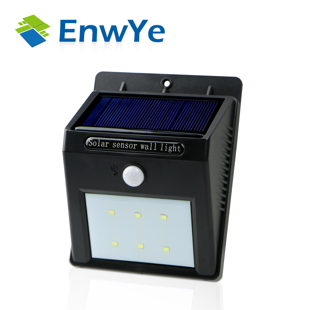 EnwYe LED Solar Power PIR Motion Sensor Wall Light Outdoor Waterproof Energy Saving Street Yard Path Home Garden Security Lamp