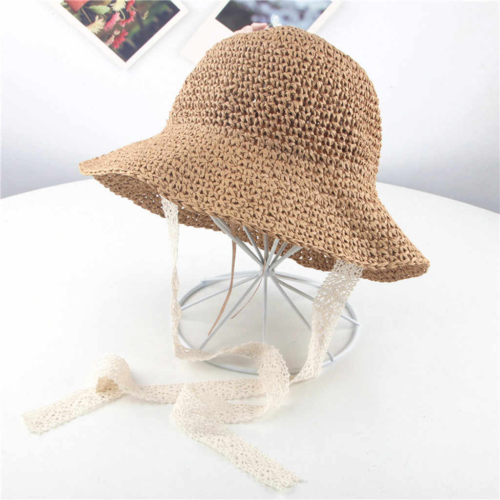 10382ad4937 ... Summer Infant Girls Children Ribbons Breathable Hats Straw Hats Kids  Bucket Mut Cap baby beanie baby ...