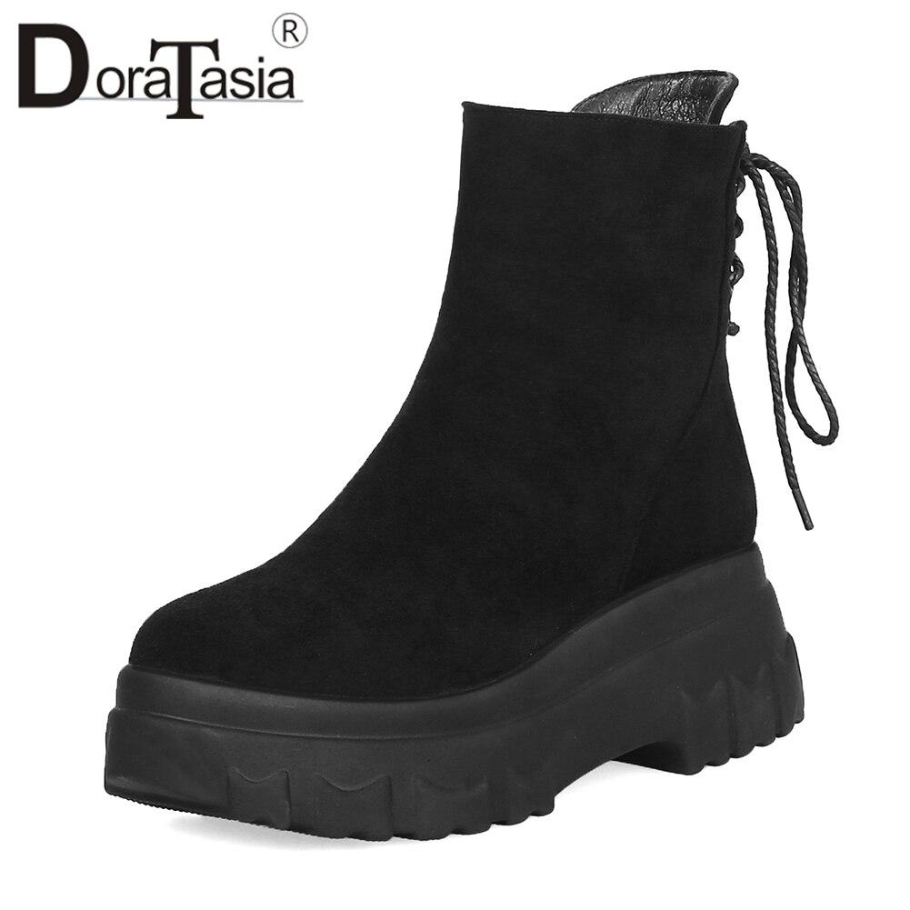 DORATASIA Fashion Wide Platform Ankle Boots Women Winter 2018 Warm Fur Flock High Heels Shoes Woman Large Size 33-43 цена