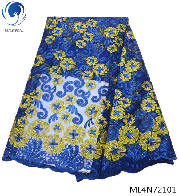 BEAUTIFICAL african lace fabrics Fashion flowres tulle lace french fabrics for wedding dresses 5yards nigerian laces ML4N721