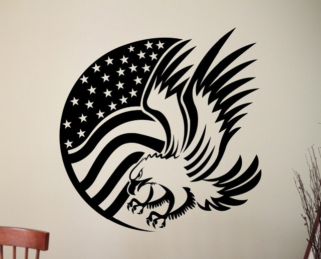 Hot Selling American Style Flag Wall Mural Patterned By Eagle Cool