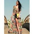 Damas de Diseño de moda Mujer de La Vendimia Cardigan Vestido de Camisa de Manga Larga de La Gasa Maxi de Boho Hippie Gypsy BZ655000