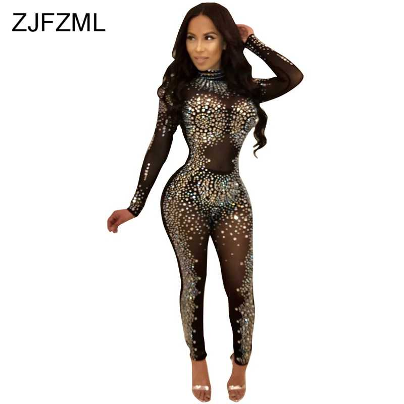 f8b5e89c009 Sparkly Rhinestones Sexy Party Jumpsuit Women Mesh Patchwork See Through  Bodycon Overall Elegant Long Sleeve Plus