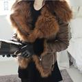 2016 Nuevas Mujeres Chaqueta de Invierno de Lujo de Zorro Con Capucha de Piel de La Motocicleta de LA PU Chaquetas De Cuero Corta Prendas de Vestir Exteriores Delgada Streetwear Escudo W483