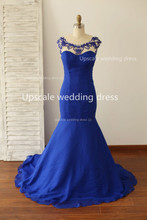 Tatsächliche bilder 2014 Backless Royal Blue High Neck Friesen Durchsichtig Lange Mermaid Formal Abendkleid Prom Pageant Kleider
