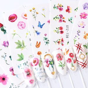 Image 5 - 24pcs Gradient Nail Decals Water Transfer Sticker Blossom Butterfly Wraps Sliders Adhesive Decorations Manicure BESTZ707 730