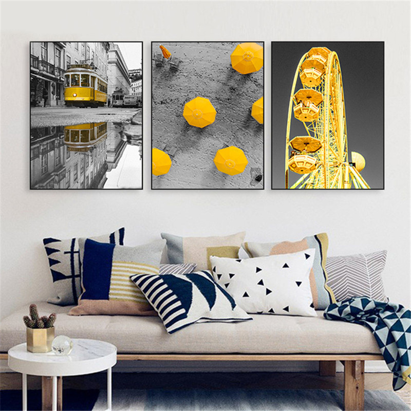 US $3.1 38% OFF|Black White Landscape Home Decor Nordic Canvas Art Painting  Print Living Room Wall Art Yellow Ferris Wheel Unbrella B Picture-in ...