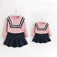 Family Clothing Fashion Dress Matching Clothes Sweatshirt Fishtail Skirt Mom And Daughter Clothes Vestidos Children Clothing