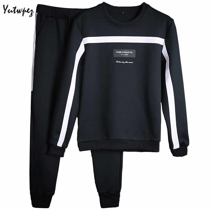 Casual Men Sweatshirts Set Brand Striped Mens Tracksuits 2PCS Jacket+Pants Autumn&Spring Fitness Clothing Mens long sleeve sets