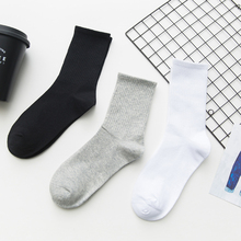 Unisex Solid Color Men Socks 100 Cotton Harajuku Colorful Mid Socks Men
