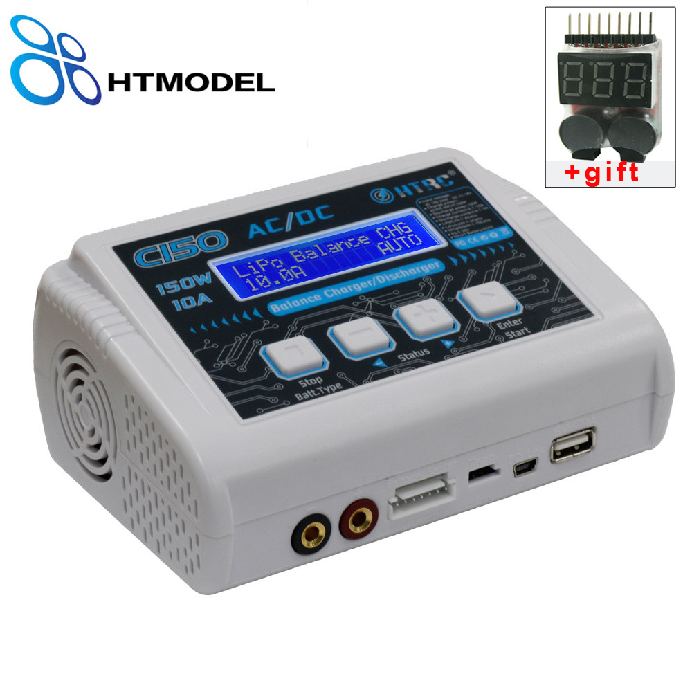 HTRC LiPo Charger C150 AC/DC 150W 10A RC Balance Charger for LiPo LiHV LiFe Lilon NiCd NiMh Pb Smart Battery Discharger все цены