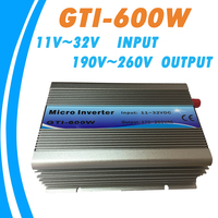 Grid Tie 600W Micro Inverter MPPT Pure Sine Wave 11 32V DC Input 190 260VAC Output