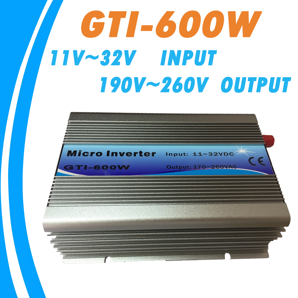 On Grid Tie Inverter 600W 18V DC Input 220V AC Output with MPPT Function 99% Efficiency Pure Sine Wave for Solar Energy Systems new grid tie mppt solar power inverter 1000w 1000gtil2 lcd converter dc input to ac output dc 22 45v or 45 90v