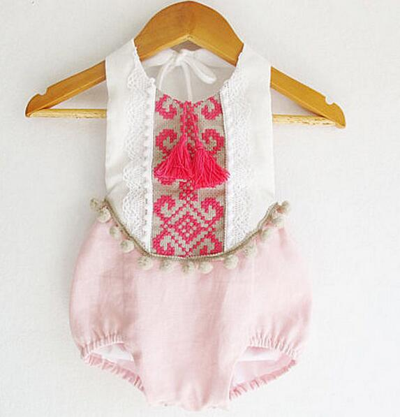 535a93341668 New Baby Girl Floral Embroidered Tassels Romper Candy Color Summer Fashion  Rompers Wholesale-in Rompers from Mother   Kids on Aliexpress.com