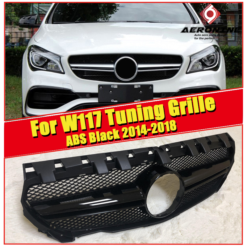 W117 CLA45 Look grille grill ABS Glossy Black Without Sign For Mercedes Benz CLA class CLA180 200 250 sport Front grills 2014 18 in Racing Grills from Automobiles Motorcycles