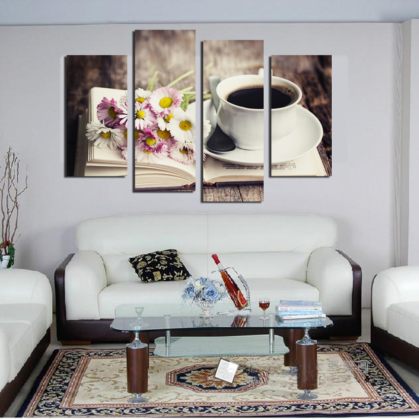 Free-shipping-4-piece-Frower-Coffee-Tea-Modern-Canvas-Print-Painting-Wall-Art-modular-pictures-Decor (1)