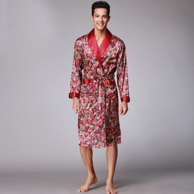 f285cdf86e Men s Kimono Homme Robes 2017 Spring Summer Autumn Long Vestidos Chinese  Silk Bathrobe XXL For Man Wp020 Wp032