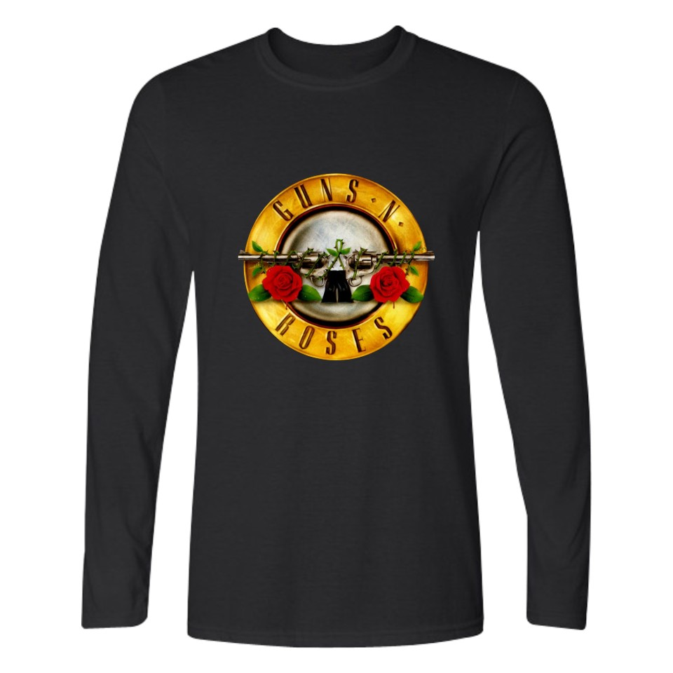 Guns N Roses Long Sleeve T Shirt Men Street Rock Band T-shirts with Men TShirt Brand Famous in Black Punk Tee Shirt Long