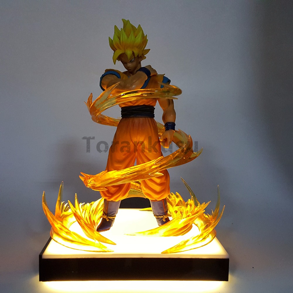 Dragon Ball Z Son Goku Resolution Of Soldiers Power Up Led Base Action Figures Model Toy Anime Dragon Ball Z Goku Gohan Led Lamp dragon ball z son goku