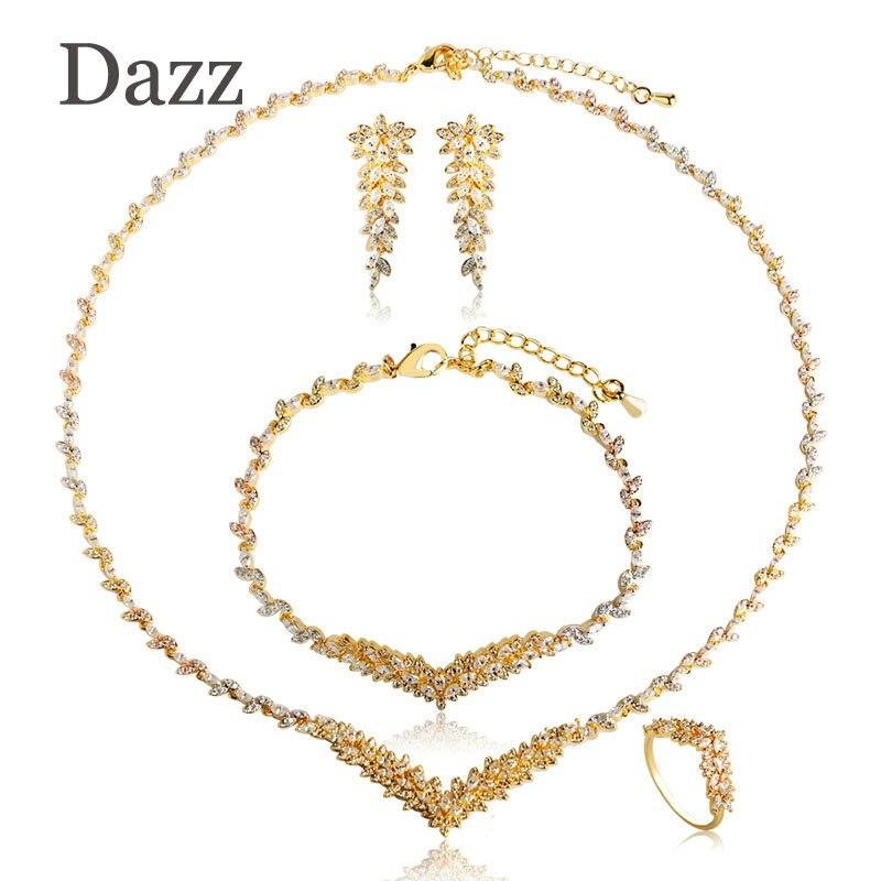 Dazz mode strass cuivre Zircon bijoux ensembles trois tons couleur feuilles brillant femmes collier boucles d'oreilles anneau Bracelet ensemble