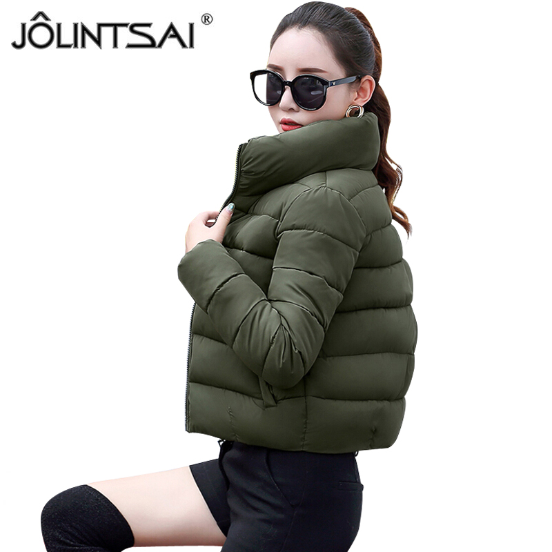 JOLINTSAI Winter Jacket Women Cotton Short Padded Coats Women Parkas Stand Collar Coat Female Jackets Winter Warm Outerwear